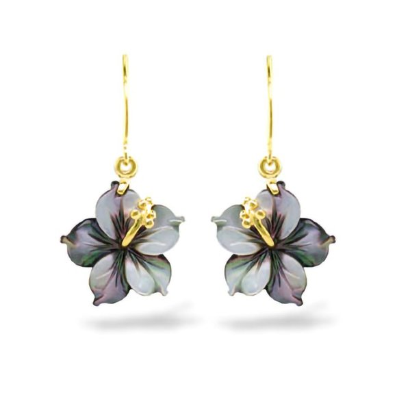 Na Hoku Hibiscus Mother of Pearl Earrings